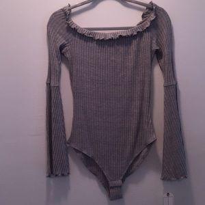 Grey, Ribbed Bodysuit